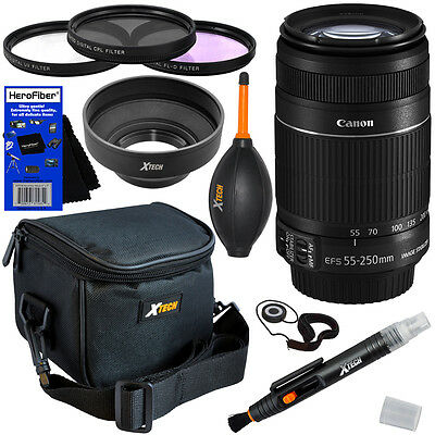 Canon 55-250mm f/4.0-5.6 IS II Zoom Lens + Deluxe Acc Kit f/ T1i, T2i, T3, & T3i