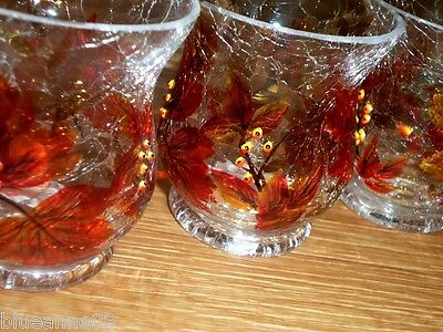 Yankee Candle Leaf Crackle Votive Candle Holders Lot of 3 - Thanksgiving or Fall