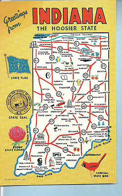 Postcard -  Greetings from Indiana - The Hoosier State
