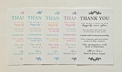 Wedding THANK YOU Cards #2 20pk with white envelope, 5 colours - Personalised