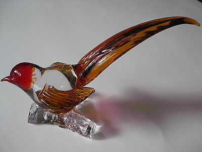 BIRD PAPERWEIGHT GLASS  CRYSTAL  RED GOLD CLEAR   MURANO STYLE    5 X 8 INCHES
