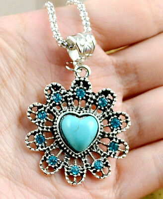New Classical Natural hot Turquoise cute tibet silver Necklace+Pendant H-161