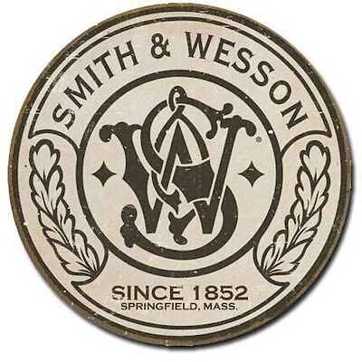 SMITH & WESSON Pistol Round Logo Tin Sign Metal Poster MADE in the USA
