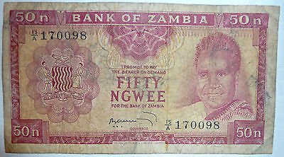 ZAMBIA 50 NGWEE  NOTE  FROM 1969, P 9 b, SIGNATURE 4