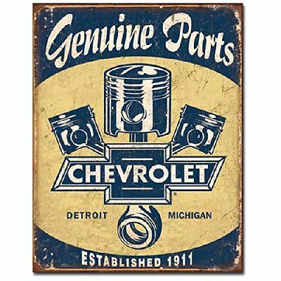Chevrolet Chevy Parts Pistons Tin Sign Metal Poster Man Cave Decor MADE in USA