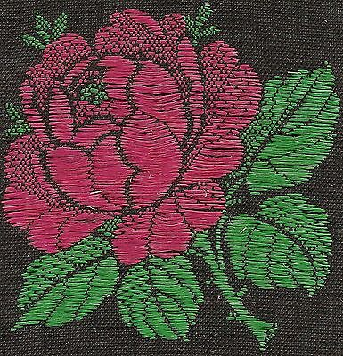 Vintage woven tobacco cigarette silk - use in crazy quilt -Turmac flower rose