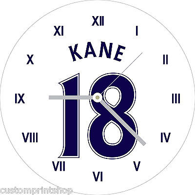 TOTTENHAM HOTSPUR style Round Glass WALL CLOCK personalised football SPURS type