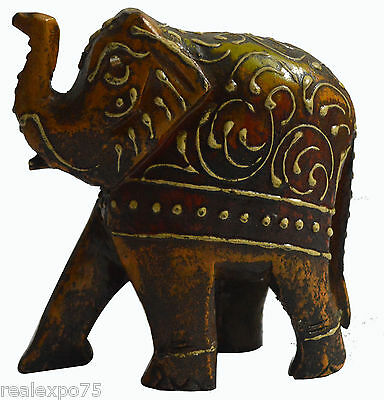 Figurine and Wood Colored Enamel Painted Animal Elephant 10cmHt Toy India Art
