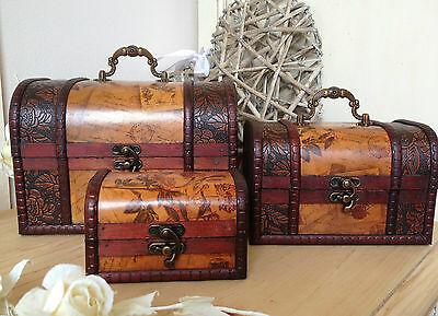 Wooden Colonial Style Trunk Treasure Chest Vintage Postcard Storage Box