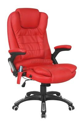 FoxHunter Red Luxury Leather 6 Point Massage Office Computer Chair Reclining
