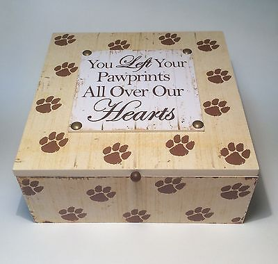 Pet Dog Wooden Keepsake Box Memorial You Left Your Pawprints all Over Our Hearts