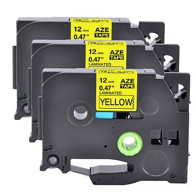 """3PK Black on Yellow Label Tape For Brother TZ TZe 631 Tze631 P-Touch 12mm 1/2"""""""