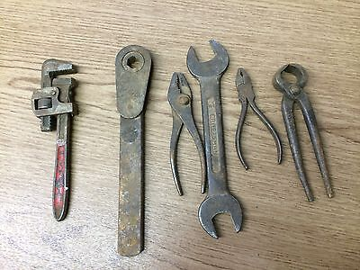 Lot of  Six (6) Assorted Antique Tools--Ratchet, Wrench, Pliars, & Metal Grips