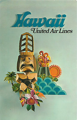 UNITED AIRLINES to HAWAII - Great Old Postcard, c. 1965
