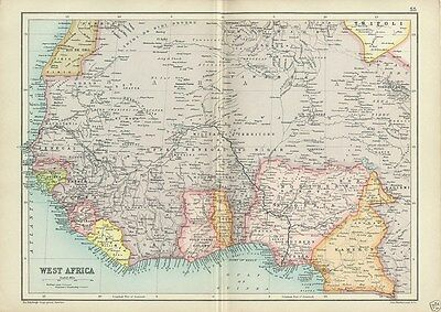 Antique Cassell's Atlas Map of West Africa 1910 by Bartholomew