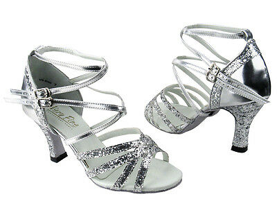 Latin Salsa Tango Very Fine Competitive Ballroom Dance Shoe Silver Sparkle