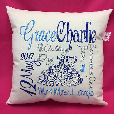 DESIGN YOUR OWN Unique Handmade WEDDING gift embroidered PERSONALISED cushion