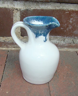 Heavy Weight Vintage Blue Drip on White Ceramic Pottery Milk Creamer Stays Cold