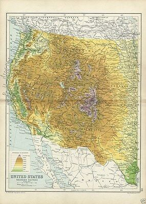 Rare 1909 Physical Map of Western United States by Bartholomew Cassell's Atlas