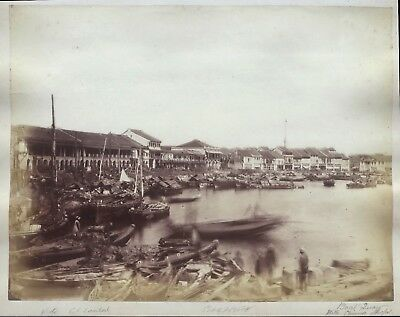 Photo Lambert Singapour Singapore China Albumine Large Vintage albumen ca 1870