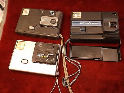 #418 Estate Find, Lot Of 3 Old Vtg Kodak Disc Cameras, Models 3000 3600 4000