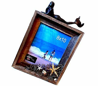 Mermaid Wooden Picture Frame Beach Decor Elegant Nautical Large