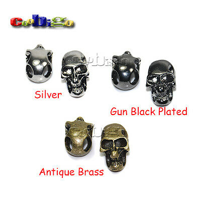 1X Charm Metal Skull For Paracord Knife Lanyards Bilateral Hole