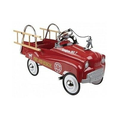 Kids Fire Truck Firefighter Ride Car Red Ladder Vintage Pedal Toddler Toy Style