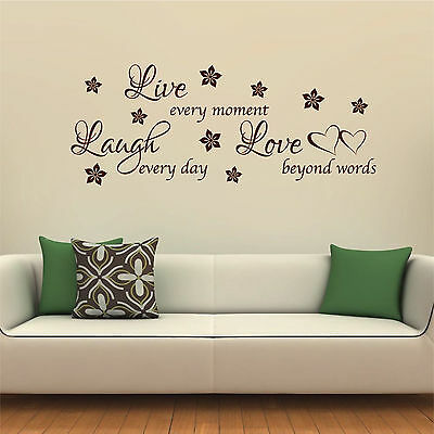 LIVE LAUGH LOVE Wall Sticker Family Quote Flowers Hearts Vinyl Art Decal AD268
