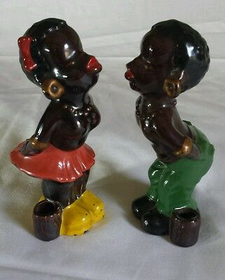 Vintage Japan Pair of African American Kissing Couple Black Americana Figurines