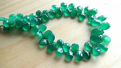 Green onyx faceted pear briolette