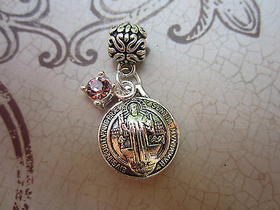 Religious St. Benedict Medal & Crystal Charm Pendant  Necklace Silver Catholic