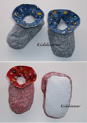 BABY BOOTIES boy girl 6 12 18 months blue cotton padders slippers NON-SLIP dots