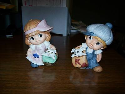 Homco Boy & Girl Figurines, Set of Two, Puppy, Kitty
