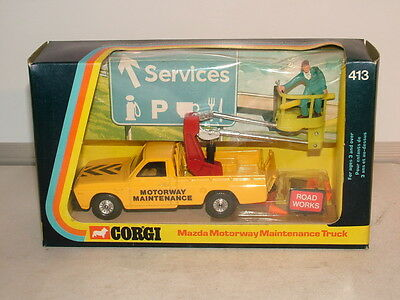 Corgi No 413 Mazda pick up and cherry picker fitted, Motorway maintance truck MB