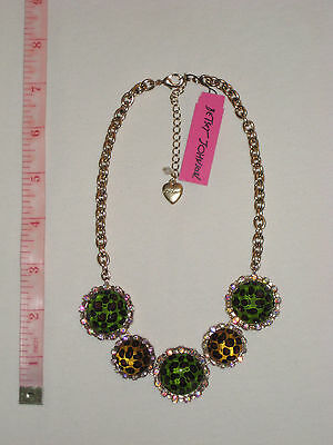 Betsey Johnson Green & Brown Leopard Circle Disc Necklace $55 NWT *Authentic *