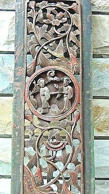 ANTIQUE 18c CHINESE WOOD CARVED TEMPLE PIERCED GILT PLAQUE WITH COURT SCENE #1