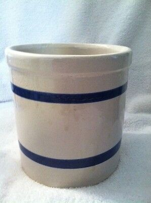 """R.R.P. Roseville OH Crock 6"""" Farm Pottery Beige with Blue Strips Round Pot 303F"""
