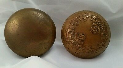 2 Antique Brass Bronze Door Knobs Leaves & Plain Free Shipping