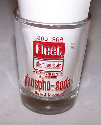 1869-1969 FLEET PHARMACEUTICALS Measuring Cup Glass PHOSPHO SODA Laxative
