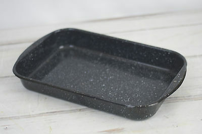 "Vintage Enamelware Graniteware Cake Pan 9""x14"" Black & White Speckled"
