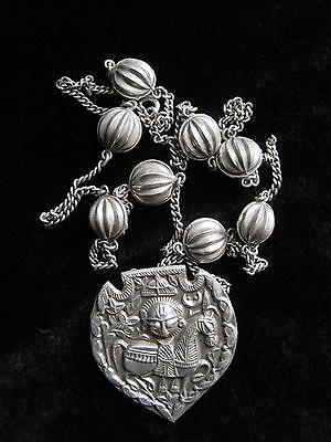 Beautiful Antique Authentic African Sterling Necklace, Mask and Horse