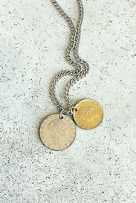 ITALY ITALIAN TREE LEAF ANVIL FOREIGN SILVER GOLD COIN VINTAGE JEWELRY NECKLACE