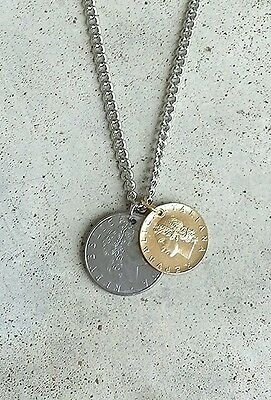 ITALY TREE LEAF BODY FOREIGN SILVER GOLD 2 COIN VINTAGE JEWELRY NECKLACE CHARM