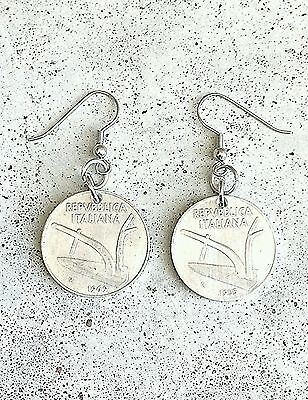ITALIAN ITALY PLOW FARM WHEAT VINTAGE FOREIGN COIN JEWELRY SILVER EARRINGS CHARM