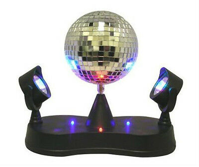 Mirror  Disco Ball with Twin Projector Lamp, Black