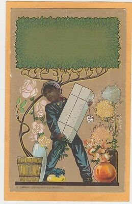 Advertising Postcard - Schmidt #15 - African American Delivery Boy - Flowers
