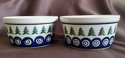 Boleslawiec Two Bowls~Dessert~Cereal~Blue, White, Green, Brown~Made in Poland