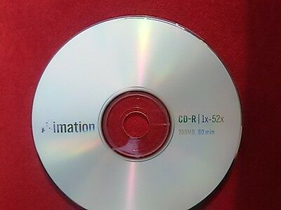 1 Imation CD-R 700MB 52x 80min Blank Disk Write Once Recordable Disc Free Ship'n