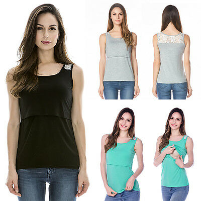 Maternity Breastfeeding Clothes Summer Tee Sleeveless Nursing Top